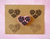 Valentine succulent heart, rubber stamp, victorian style heart, wedding decor idea, steampunk, hand carved, heart