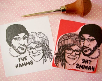 Couple portrait rubber stamp, wedding gift, custom portrait, hand carved, couple gift, wedding invitations