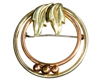Retro rose and yellow gold filled circle brooch