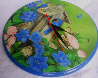 Decoupage wooden wall clock with birds and forwers, clock with flowers, birds, blue, handpainted
