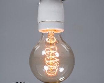 White large porcelain Ceiling light Industrial Ceramic ceiling light, Antique Edison Bulb, Lamp, Rustic Lighting