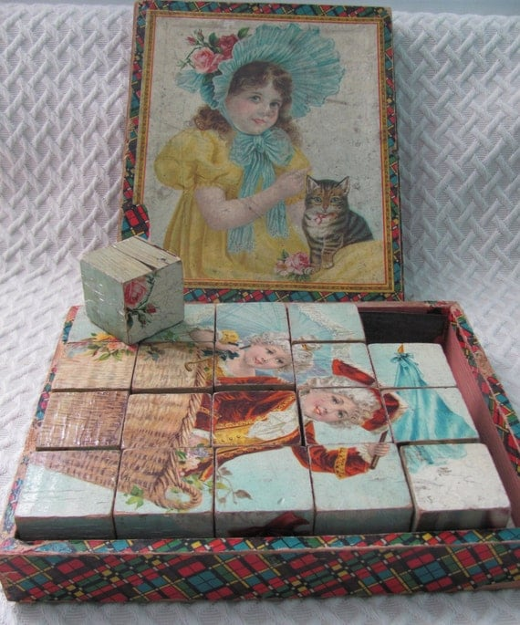 Antique Lithograph Wooden Puzzle blocks