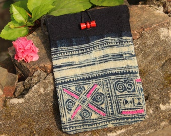 Batik Dyed and Embroidered Hemp Purse Pouch