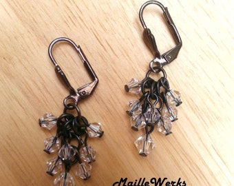 Clear Crystal & Black Gray Gunmetal Chainmaille Earrings Renaissance Gothic Wedding Bridal Bride Small Dangle Drop Micro Chain Mail Jewelry