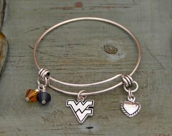 West Virginia Mountaineers Memory Wire Bracelet