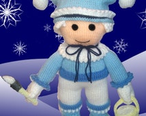 knitted christmas doll, jack frost doll, christmas gift doll, christmas decoration, knitted christmas ornament, knitted plush doll,