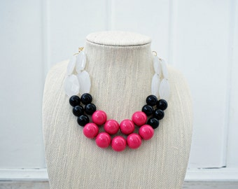 Pink, Black, and White Beaded Statement Necklace