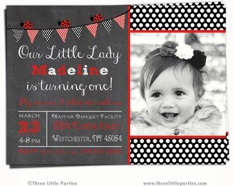 Ladybug Invitation, Ladybug Chalkboard Birthday Invitation, Ladybug Birthday Invitation Printable, Lady Bug Invitation
