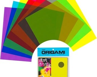"Transparent Plastic Origami Paper Pack - Assorted Colors - 6"" Size - 21 Sheets in 7 Different Colors"