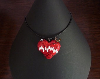 Red monster heart polymer clay necklace pendant