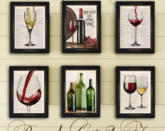 Red U0026 White Wine Dictionary Art Print. Six Set Home Bar Wall Decor Time