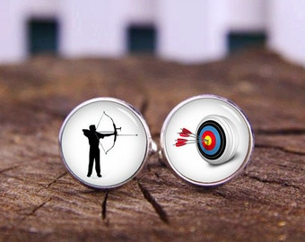 Archery Cufflinks, Archer Fans Cufflinks, Archer Cuff Links, Custom Sport Cuff Links, Custom Wedding Gifts, Groom Cufflinks, Tie Clip Or Set