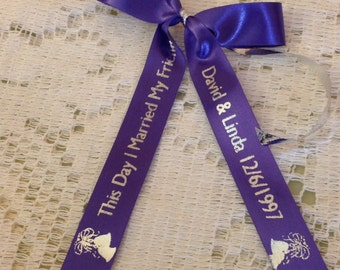 "15 Yards of 5/8"" Custom Printed, Personalized Satin Favor Ribbons - Made To Order - Choose Color & Font Style"