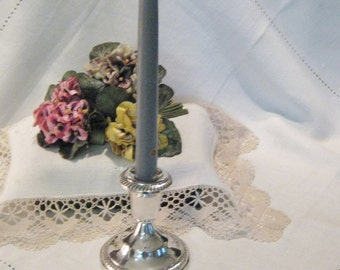 Sterling Gadroon Edged Candle Holder Hunt Silver Company