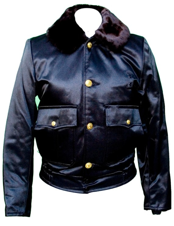 1960s Small Jacket Black Uniform Cop Police Motorcycle Faux