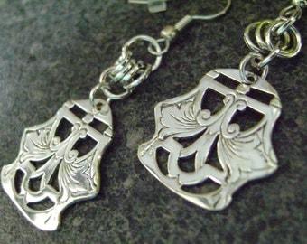 HAREM - Earrings, Repurposed Jewelry, Silver Plate Earrings, Environmentally Friendly Jewelry Harem Earrings, Dangle Earrings, Metal Earring