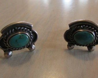 Vintage Sterling Silver and Turquoise Screw Back Earrings