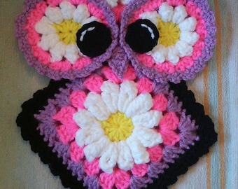 Crochet Miss Daisy Owl Potholder Pattern only