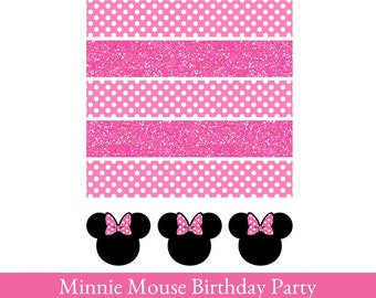 Minnie Mouse Napkin wrappers, Napkin Holders printable, Napkin wrappers Printable, Minnie Mouse Printable, Minnie Mouse Party Decoration
