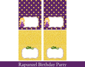 Rapunzel Food Cards, Foldable Tent Cards, Rapunzel Printable, Food Labels, Rapunzel Party Decorations