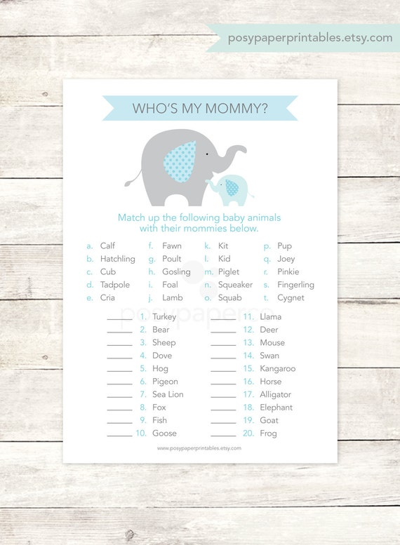 Baby Shower Game Printable Elephant Blue Grey Matching