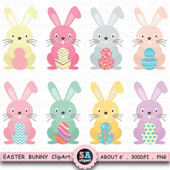 """BUNNY CLIP ART"" pack,Easter bunny clipart,Easter Egg,Bunny clip ..."