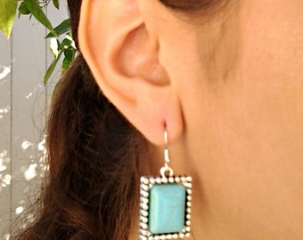 Turquoise Rectangle Dangel Silver Earrings / Howlite Turquoise Silver Earrings / Gift for Her.