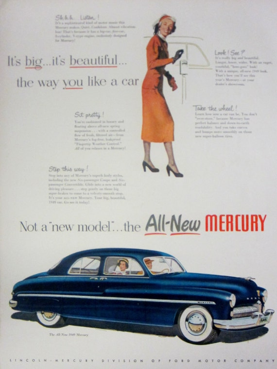 1948 '49 Mercury Automobile Vintage Advertisement Automotive Wall Art Classic Car Print Man Cave Decor Original Magazine Print Ad Ephemera