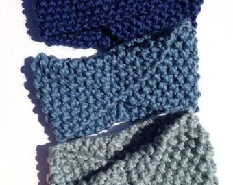Knit Ear Warmer, Women's Blue Knitted Head Warmer, Ear Muffs, Ear Warmer Headband, Winter Headband, Knit Headband, Knitted Headband