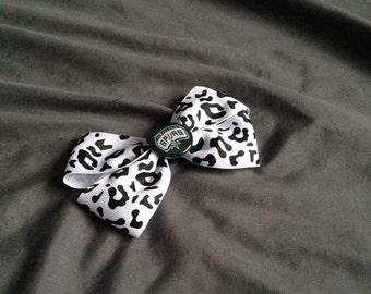 San Antonio Spurs Black, Gray, and White Ribbon Bow Hair Clip, animal print