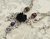Secret Romance - Neovictorian Necklace - Black, Purple, and Antique silver Tone - Keys - Free US Shipping