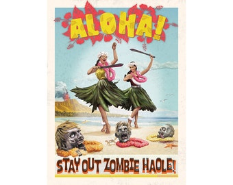 Vintage Look Hawaii Travel Poster with Zombies Art Print