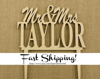 Mr and Mrs Cake Topper - Personalized Cake Topper - Wooden Wedding Cake Topper - Custom Cake Topper