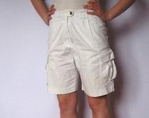 White Rialto Cargo Vintage Shorts Summer 100% Cotton Shorts Women Holiday Free Time Golf Shorts High Waist Six Pockets Shorts EUR 40 Size
