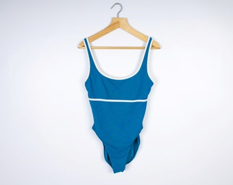 Dark Blue One Piece Swimsuit Vintage Retro Bathing Suit