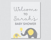 Baby Shower Welcome Sign Printable Personalized Shower Welcome Sign - Yellow Gray Elephant Baby Shower Sign - Printable Welcome - 0024-Y