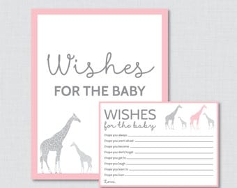 Wishes for Baby Baby Shower Activity Giraffe Baby Shower Well Wishes for Baby Cards Pink Giraffe - Printable Instant Download - 0011-P