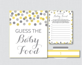 Yellow and Gray Baby Shower Game Guess the Baby Food Activity - Printable Baby Shower Baby Food Game, Baby Food Activity - Glitter 0023-Y