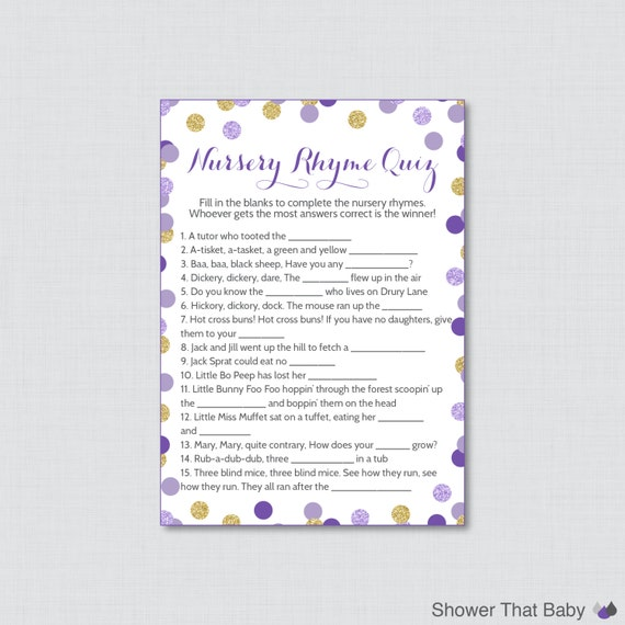 Baby shower nursery rhyme game printable purple and gold baby shower