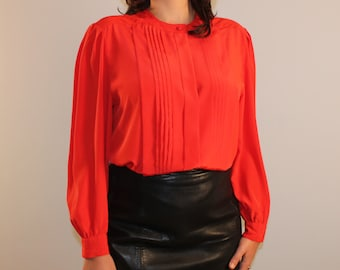 Vintage red secretary blouse with front pleating puffy sleeve 1980s 80s small medium
