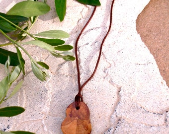 Wood Pendant, Necklace, Wood Jewelry Natural, Organic, Natural Women's and Men's jewelry, Accessories Women's, Olive Wood, Gifts under 10