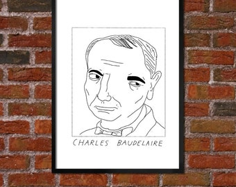 Badly Drawn Charles Baudelaire - Literary Poster - *** BUY 4, GET A 5th FREE***