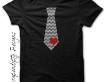 Valentine's Day Tie Shirt - Red Heart Chevron Tie Tshirt / Boys Valentine Shirt / Baby Valentine Outfit / Toddler Boys Love Clothes / Black