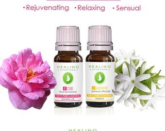 Essential oils set- Flower essentials- Rose otto-Jasmine oil set- Bath & Beauty oils set- -Aromatherapy- Skin care - Sensual- harmonizing