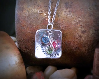 Mother's Necklace, Square Textured Pendant with Swarovski Channel Crystal Drops