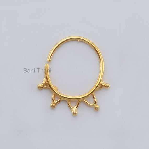 handmade gold plated 925 sterling silver nose ring ethnic