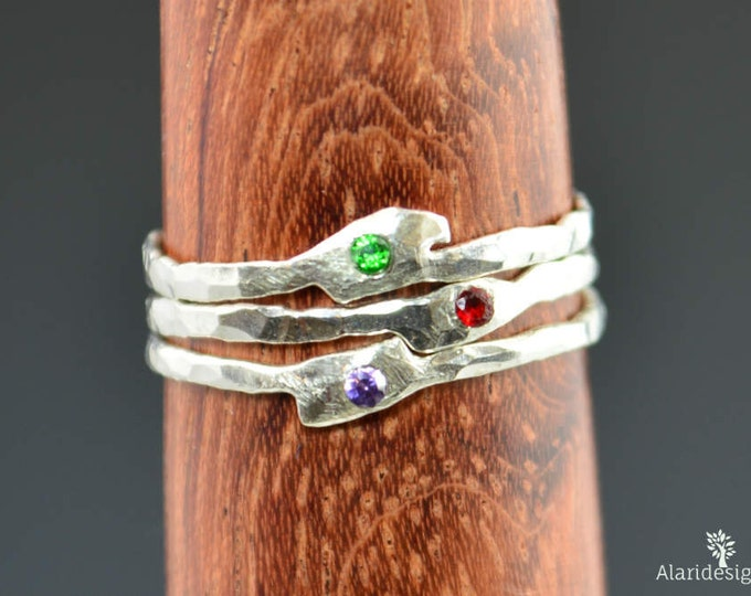 Thin Freeform Rings, Birthstone Ring, Grab 3, Stacking Rings, Gemstone Rings, Flush Set Stone Ring, Freeform Stone Rings, Alari, 3 Ring Set