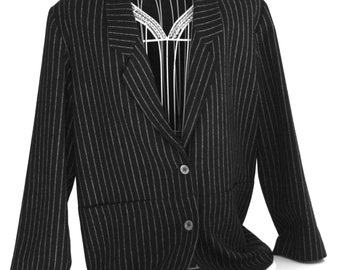 Jacket suit jacket and skirt with diplomatic / American striped shirt / jacket and striped skirt / Blazer / wool suit / stripe