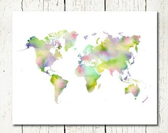 Watercolor world map travel quote wall art decor digital print world map watercolor world map printable world map instant download world map wall decor digital gumiabroncs Images