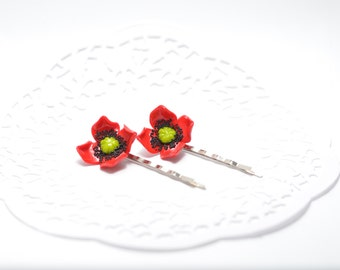 Red Poppy Bobby Pins, Flowers Hair Pins, Polymer Clay Flower Hair Accessories, Wedding Hair Accessories, Flower Jewelry, Set of 2